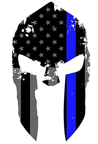 K9King Tattered Spartan Helmet US Flag Subdued Molon Labe Reflective Decal with Thin Blue Line