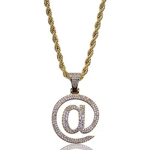 Moca Jewelry Hip Hop Iced Out Bling @ Logo Personality Colgante chapado en oro de 18 quilates collar de cadena para hombres y mujeres