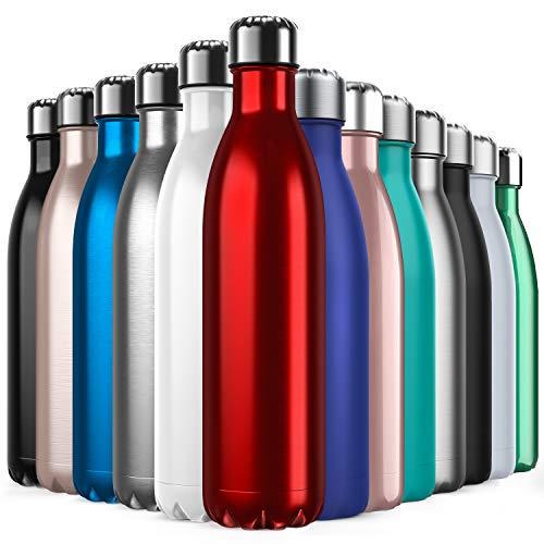 BICASLOVE Vakuum Isolierte Edelstahl Trinkflasche - 750ml, Die Thermoskanne hält 18 Stunden heiß und 24 Stunden kalt für Kinder, Kleinkinder, Schule, Kindergarten, Sport, Outdoor, Fitness, Büro(rot)