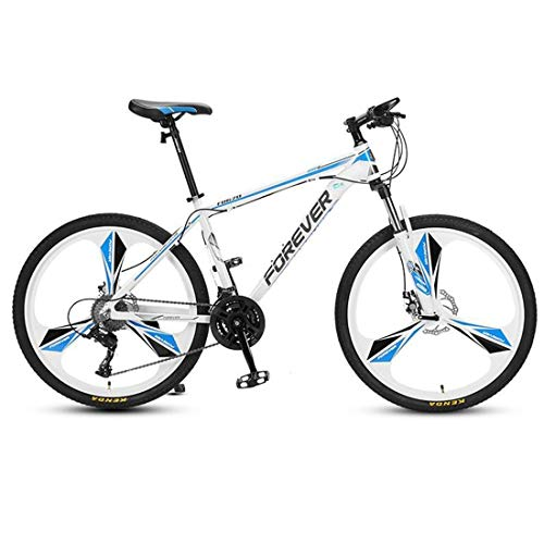 JLFSDB Mountain Bike,26 Inch Carbon Steel Frame Hard-Tail Bicycles,Double Disc Brake and Front Suspension,24 Speed (Color : Blue)