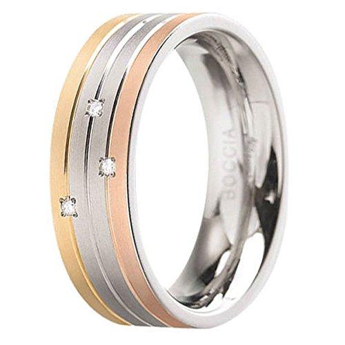 Boccia Damen-Ring Titan Diamant (0.03 ct) weiß Brillantschliff Gr. 55 (17.5) - 0135-0255