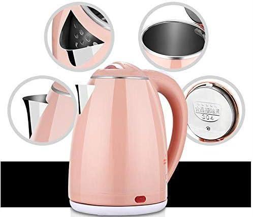 HLJ Maison bouilloire électrique 304 sécurité en acier inoxydable et une bouilloire électrique chaude durable mise en veille automatique de chauffage 2.0L (Color : Green) Pink