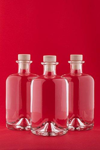 3 x 500 ml Leere Glasflaschen Apotheker HGK Weinflasche Schnapsflasche Essig Öl Glasflaschen 0,5 Liter l Nr 1 von slkfactory (3 Stück)