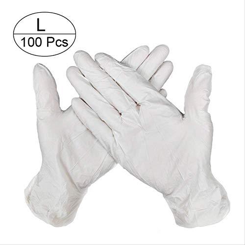 QIFENYEDENG 100 Stück, industrielle Einweghandschuhe, PVC-Handschuhe, Küche, Gummi, industrielle Einweghandschuhe, ölbeständig, Zwecklatex, tragbar und langlebig, l