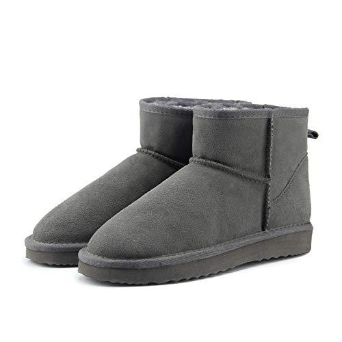 Hausschuhe Baumwollpantoffeln Neue Winter Damen Snow Boot Leder Knöchel Schuhe Frauen Warme Winter Schwarz Stiefel 4 Grau