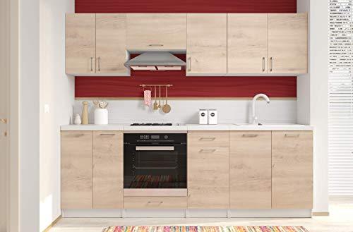Arreditaly Cucina Componibile Completa di Mobili Pensili Sospesi e Mobili Base Cucinino Moderno in Laminato da 240 Cm da Incasso (Rovere Chiaro)