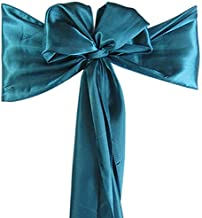Set of 10 Chair Decorative Satin Sashes Bow Designed for Wedding Events Banquet Home Kitchen Decoration (Teal)
