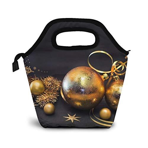 NiWCGP Weihnachtsgoldene Schneeflocke-Kugel Lunchtasche Wasserdicht Mittagessen Tasche Isolierte Mittagessen Kühler Picknicktaschen für Frauen Kinder Mädchen Männer Jungen Büro Schule Reisen