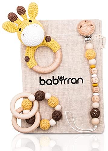 BABYRRAN | Mordedor de madera bebé | Mordedor sonajero de madera para bebé | Mordedor recien nacido