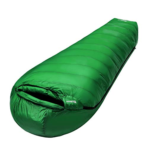 Ubon Extreme 15 Degree F 650 Fill Power Down Sleeping Bag for Adults with ClusterLoft Base, Lightweight Waterproof Mummy Sleeping Bag Camping Backpacking Hiking Blackish Green