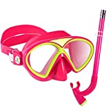 Kuyou Snorkel Set Kids,Anti-Fog Scuba Diving Mask,Children Swimming Goggles, Snorkelling Gear with Breathing
