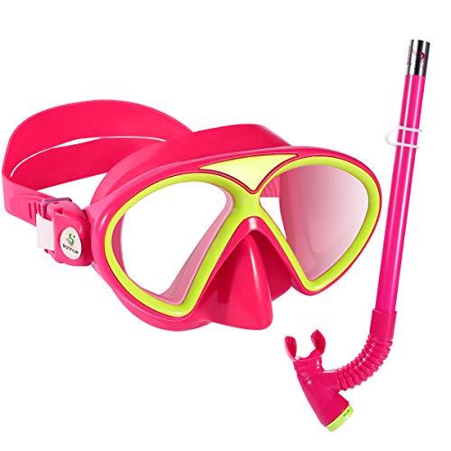 Premium Kinder Schnorchelset Taucherbrille mit Schnorchel Tauchset gehärtete Anti-Beschlag Gläser Taucherbrille wasserdichte Tauchmaske und Schnorchel Set (Rosa)