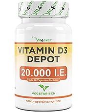 Vitamine D3 20.000 I.E. Depot - 240 Tabletten - Hoge Dosis - Vegetarisch - Hoge Zuiverheid - 20 Dagelijkse Dosis 1000 I.E. per Dag