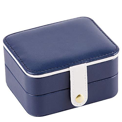 qddan Caja de joyería Caja de Almacenamiento con Cerradura para Pendientes, Collares, con Espejo y cajones de Almacenamiento Regalo (Color : Blue A)