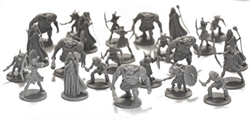 Drunkn Dragon DND Minis 25 Fantasy Miniatures for Tabletop/Dungeons and Dragons Roleplaying Games - Bulk Minis Unpainted- Enemies and Monster Figures Starter Set - Compatible with D