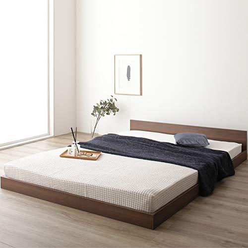 ベッド 低床 ロータイプ すのこ 木製 一枚板 フラット ヘッド シンプル モダン ブラウン セミダブル ベッドフレームのみ