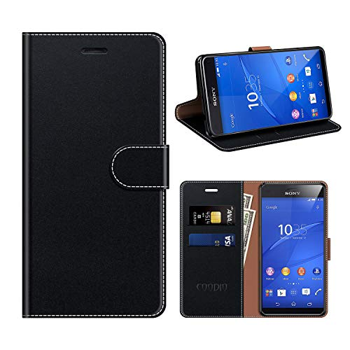 COODIO Sony Xperia Z3 Compact Hülle Leder, Sony Xperia Z3 Compact Kapphülle Tasche Leder Flip Cover Schutzhülle Rugged für Sony Xperia Z3 Compact Handyhülle, Schwarz