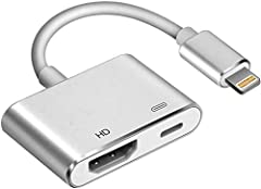 【1080P Digital Cable】The Lightning Digital AV cable supports mirroring of what is displayed on your device screen - including apps, presentations, websites, slideshows and more - to your HDMI-equipped TV, display, projector or other compatible displa...