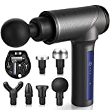 FITQUIET Muscle Massage Gun for Athletes - Deep Tissue Handheld Percussion Massager Gun for Pain Relief, Portable Electric Super Quiet Brushless Massagers with 6 Different Heads, 3 Speed Levels