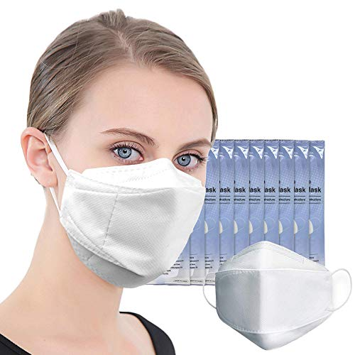 (US in Stock) 10 PCS 4-Layers Hygienic Disposable White Face Mask 3D Dust Masks Protective Face Mask Mouth Cover Men Women made in Korea