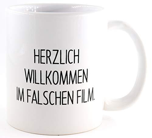 PICSonPAPER Tasse mit Spruch Willkommen im falschen Film, Kaffeetasse, Keramiktasse, Tasse mit lustigem Spruch