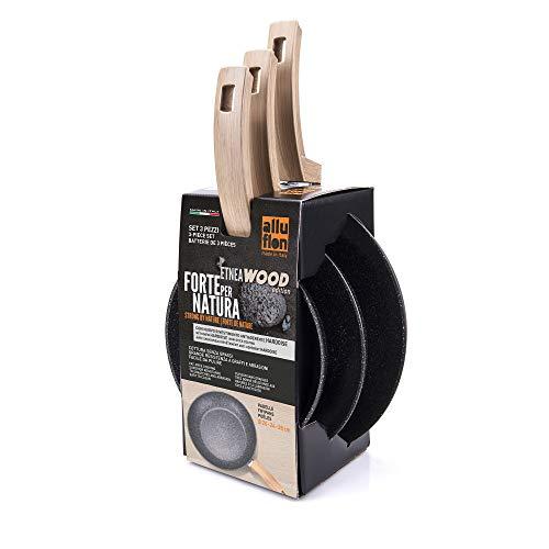 Alluflon Etnea Wood Edition Set de 3 Poêles à Frire, aluminium, Noir, 20 - 24 - 28 cm