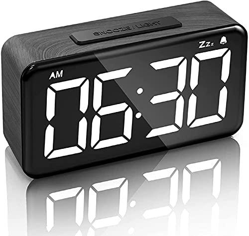 LEERON Alarm Clock Digital Alarm Clocks for Bedrooms Heavy Sleepers LED Small Bedside Desk Alarm Clock with Adjustable Brightness Dimmer Wood Grain Clock with USB Charge (Black)