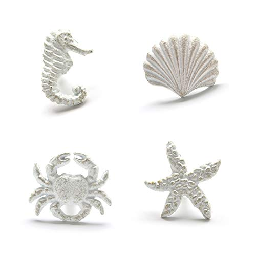 ZILucky Sea Horse Starfish Seashell and Crab Drawer Pulls Handles for Dresser Cupboard Wardrobe Cabinet Kitchen Beach Ocean Theme Knobs Pack of 4 (White)