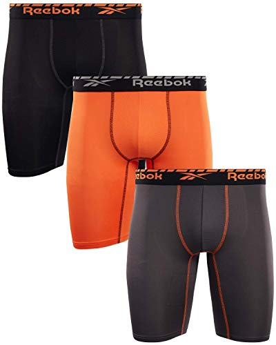 Reebok Men's Compression Long Length Performance Boxer Briefs (3 Pack), (Pearl/Orange/Black, Medium)