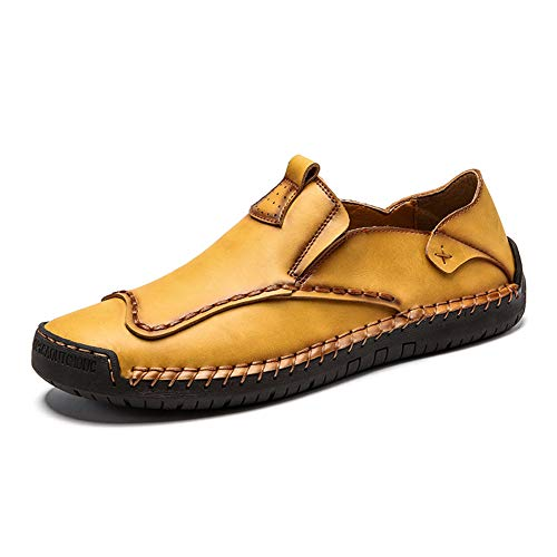 MAIZUN Mens Leather Casual Loafers Slip on Comfort Driving Shoes Handmade Fashion Walking Flat Boat Shoes Moccasins Yellow