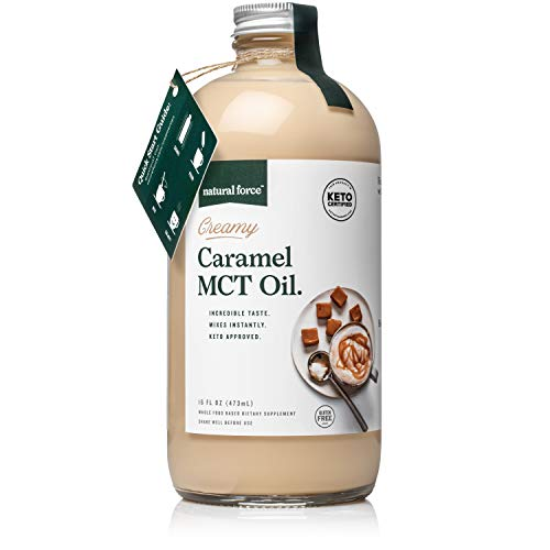 Natural Force Creamy Caramel MCT Oil – Non Dairy, Keto Certified, Emulsified MCTs for Low-Carb, Ketogenic Coffee, Smoothies, & Shakes - Mixes Instantly + No Blending Required – 16 Oz Glass Bottle