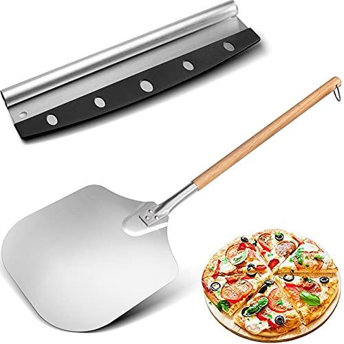 Pala de aluminio para pizza (30,5 cm x 89,5 cm), mango largo extraíble de madera, con el cortador de pizza, para hornear pan de pizza casero