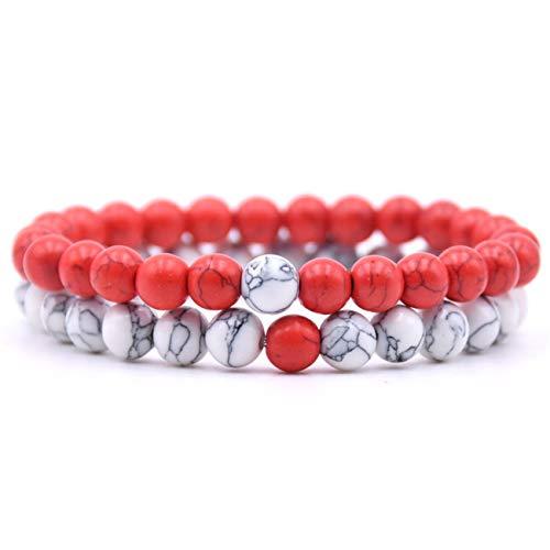 Baostic Pulseras 2Pcs/Set Couples Distance Bracelet Classic Natural Stone 18 Styles Beaded Bracelets For Men Women Best Friend 1