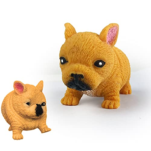 JGPIN Squishy Dogs Toy Gifts - Stress Squishies Dog Sensory Toys Slow Rising - Fidget Anxiety Relief Dogs for Adult, Child, ADHD or Cats Fans - Yellow French Bulldog