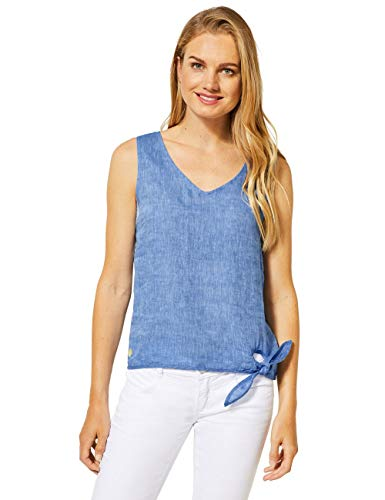 Street One Damen 342141 Bluse, Linen Blue Melange, 36