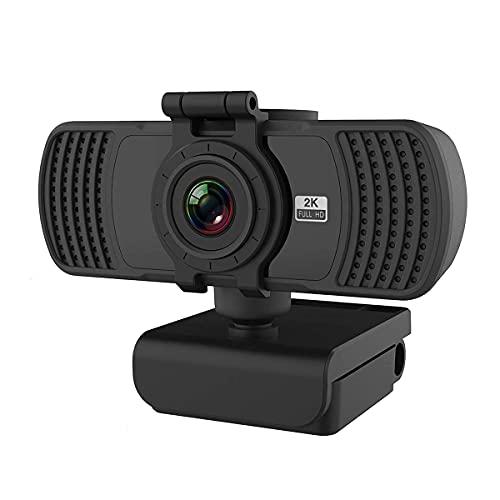 Cámara web de 2K con micrófono y cubierta de privacidad, cámara USB de cámara web, webcam de transmisión de computadora HD para computadora de escritorio y portátil, lente ancha y sensor grande