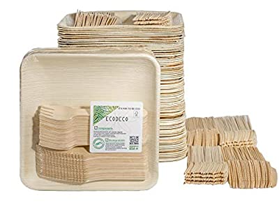 "300 PCS Eco Friendly Disposable Dinnerware Set - 100 Palm Leaf Compostable 8"" Plates w/Wooden Cutlery - 100 Forks 100 Knives for Party"