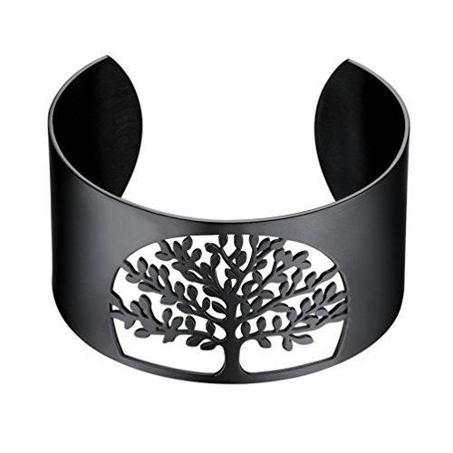 PROSTEEL Damen Offener Armreif schwarz Baum des Lebens Manschette Armband 40MM breit Weltenbaum Lebensbaum Armspange Armschmuck für Mädchen Frauen