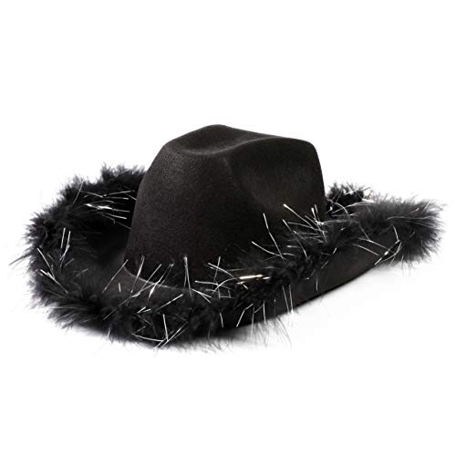 Juvolicious Cowboy Hat with Feathers (Adult Size, Black)