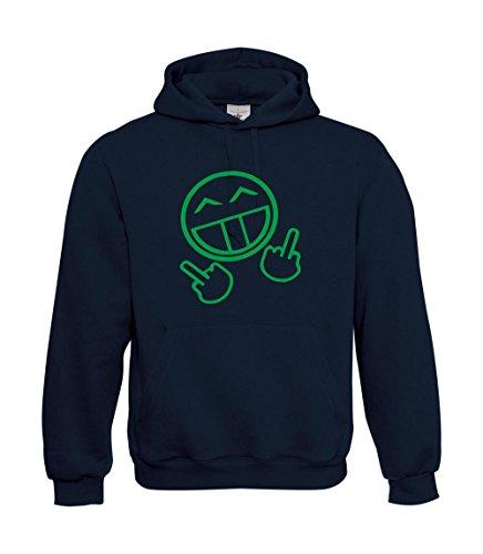 Textilhandel Hering Fuck You Smiley - Sudadera con capucha, color verde neón, azul marino, L