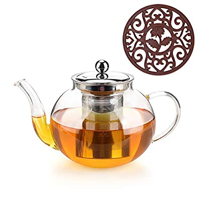 Glass Teapot With Removable Stainless Steel Infuser Premium Durable Borosilicate Glass Tea Kettle for Stovetop - Glass Flowering Tea Kettle With Infusers for loose Tea 1000 ml & Silicone Mat.