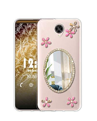 Sunrive Kompatibel mit Meizu M3 Max Hülle Silikon, Glitzer Diamant Strass Transparent Handyhülle Schutzhülle 3D Etui handycase Hülle (Spiegel) MEHRWEG