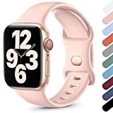 Upeak Compatibile con Cinturino Apple Watch 41mm 45mm 38mm 40mm 42mm 44mm, Cinturino Sportivo in Morbido Silicone Compatibile con iWatch Series SE 7 6 5 4 3 2 1, 38mm/40mm/41mm-S/M, Rosa Sabbia