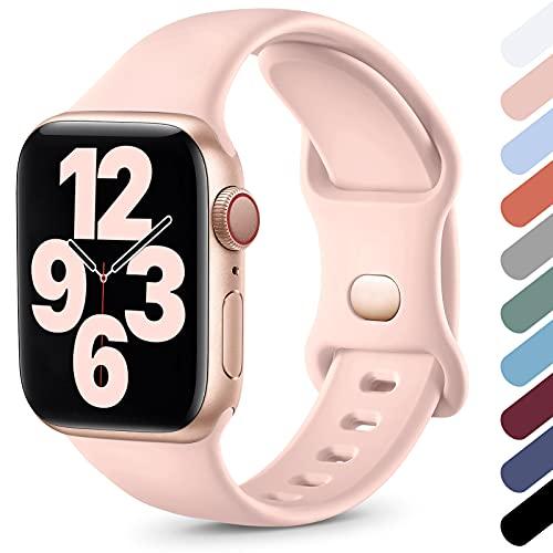 Upeak Compatibile con Cinturino Apple Watch 38mm 40mm 42mm 44mm, Cinturino Sportivo in Morbido Silicone Compatibile con iWatch Series SE 6 5 4 3 2 1, 42mm/44mm-S/M, Rosa Sabbia