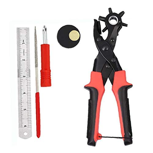 Leder Punch-Profi Leder 6 Runde Locher Gurt-Loch-Durchschlags-Set für Gürtel, Sättel, Karte, Stoff, Gummi, Papier und vieles mehr