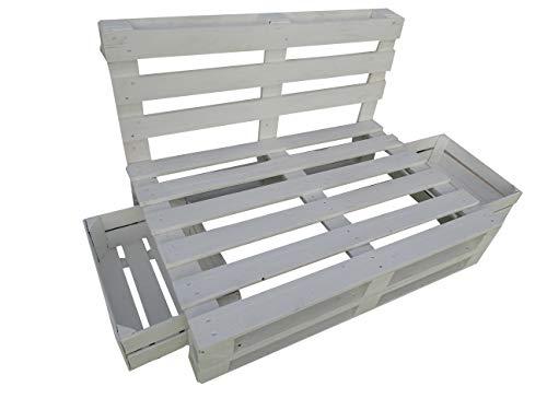 Sofá Hecha con Palets/Pallets Color Blanco con Respaldo para Interior & Exterior para Patio, Jardín & Terraza