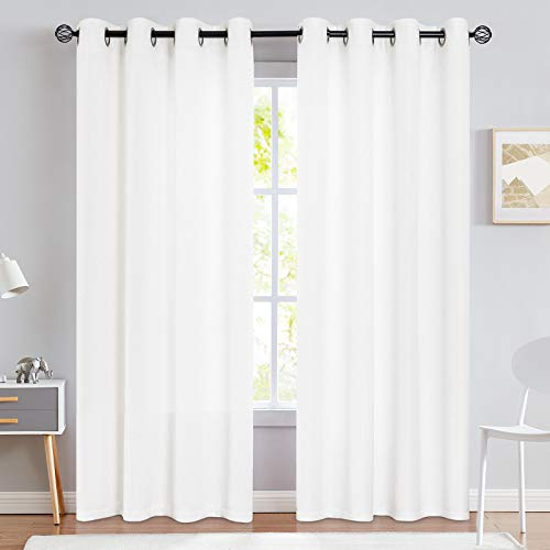 jinchan Linen Texture Curtains Light Reducing Grommet Top Drapes for Bedroom Living Room Window 2 Panels 90 Inches Length White