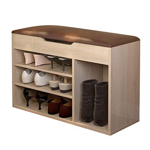 HLL Cambio de Zapatos Taburete Taburete de Zapatos Taburete de Almacenamiento Moderno Simple Banco de Almacenamiento Taburete de Zapatos Zapatero Estante de Zapatos Sofá Taburete,Roble Claro