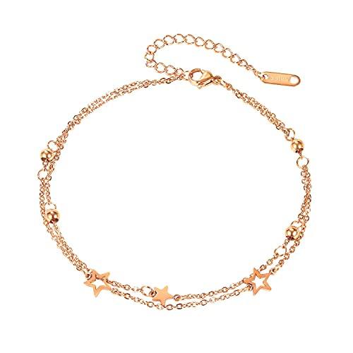 Boonee Rosegold Damen Fußkettchen aus Titan Edelstahl Layered Fußkette mit Star Anhängern Doppelt Kette Fussketten mit Kugeln für Frauen