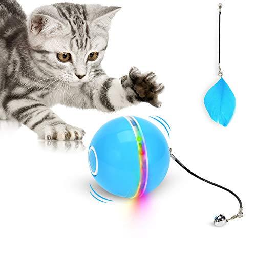 Katzenspielzeug ball mit LED-Licht,【2020 verbessert】Interaktiver Ringglocke Feder-Haustierspielzeug,automatisch drehendes intelligentes Katzenballspielzeug, wiederaufladbarer USB wiederaufladbar
